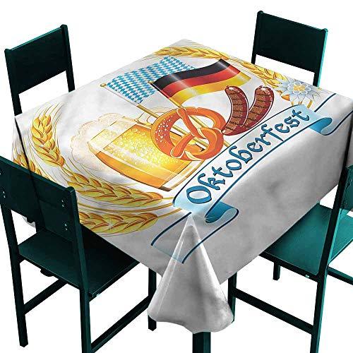 DONEECKL Washable Tablecloth Oktoberfest Delicious German Food Party W54 xL54