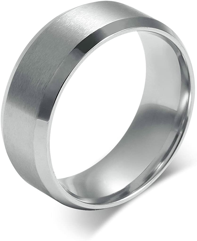 Bishilin Titanium Steel Rings For Men Wedding Engagement Band Classice Design