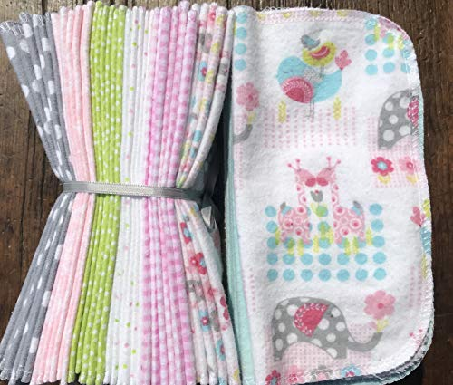 Cloth Baby Wipes Starter Kit. Set of 3 Dozen Wipes. Reusable Cloth Wipes. Baby Shower Gift. Eco Friendly. Reusable Cloth Napkin. Reusable Dryer Sheets. Girly Baby Animals by As You Stitch