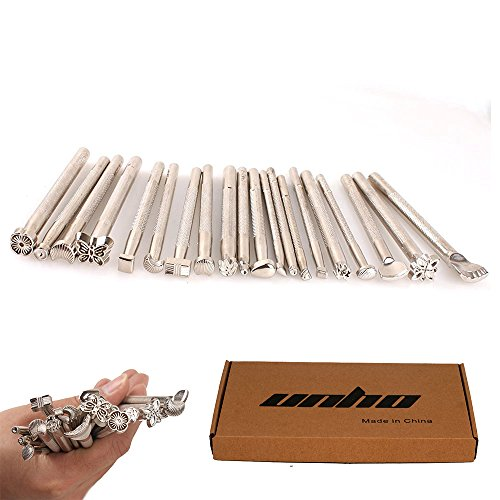 20PCs Leather Different Shape Stamp Punch Set Saddle Making Tools for Leather Craft Working Moon Flower Butteryfly Shape
