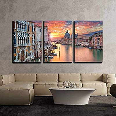 """3 Piece Canvas Wall Art - Venice. Image of Grand Canal in Venice, with Santa Maria Della Salute Basilica - Modern Home Art Stretched and Framed Ready to Hang - 16""""x24""""x3 Panels"""