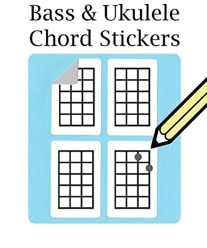 Bass, Ukulele Chord and Tablature Fingering Stickers (500 Pack) Free Shipping At Checkout (Ukulele Tab Stamp)