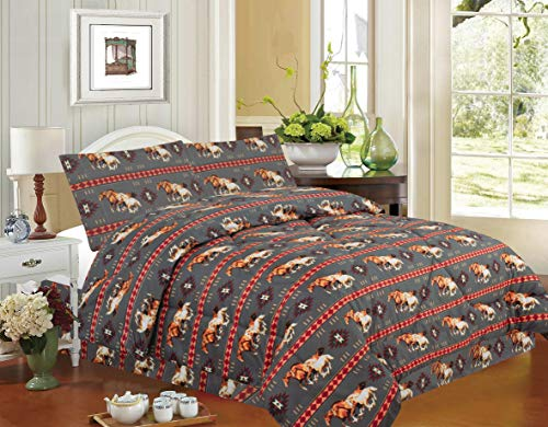 Rugs 4 Less Equestrian Rustic Southwestern Native American Western Cowboy Comforter Set with Running Mustangs and Tribal Patterns - Horse Stampede Grey Queen Comforter