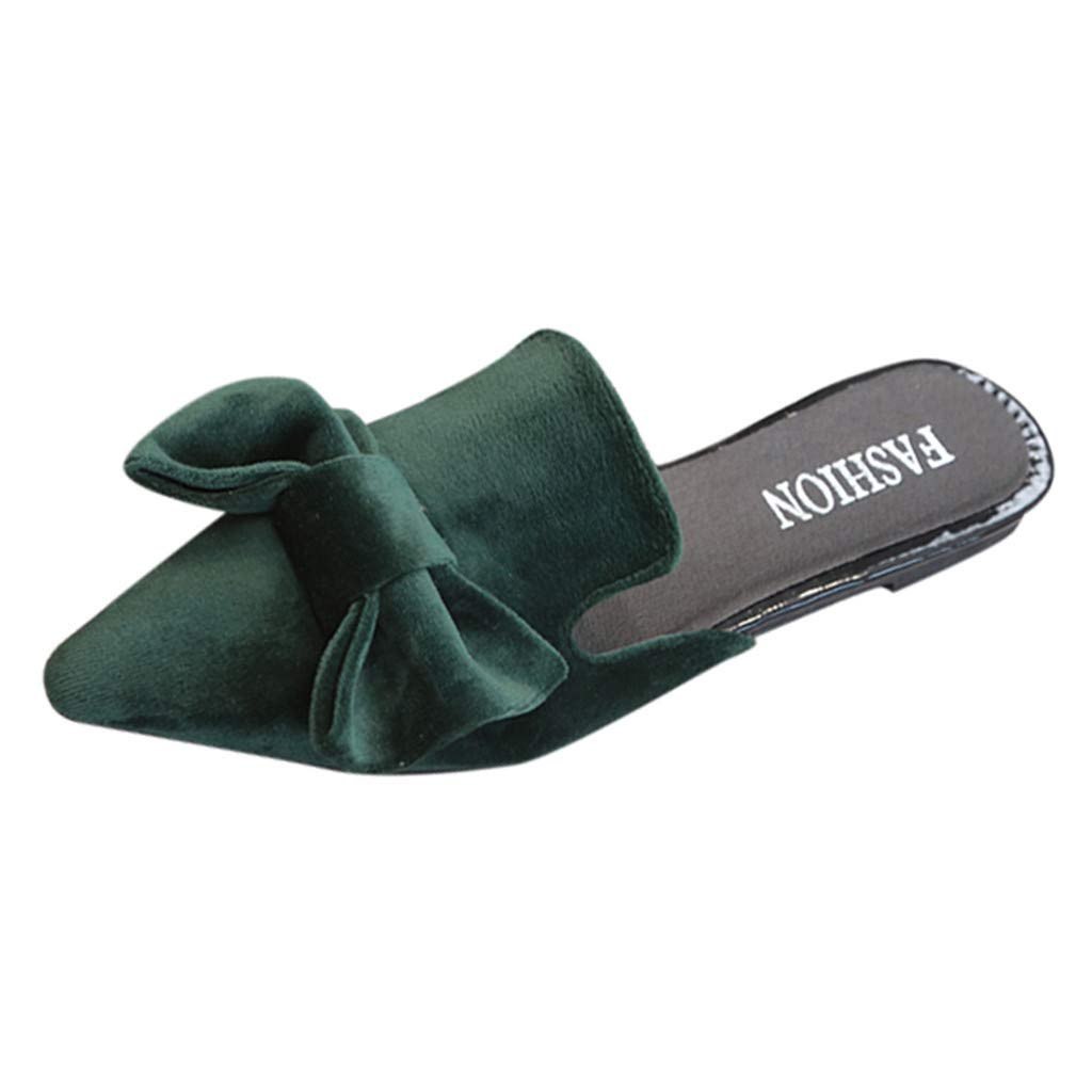 Hunzed Women【Suede Slippers】 Womens Summer Bow Pointed Flat Shoes