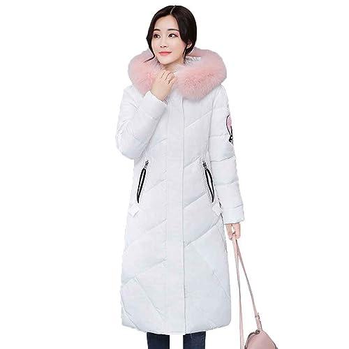 Ranboo Mujeres con capucha bordado abrigo de algodón chaqueta caliente Largas Outwears
