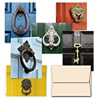 All Occasion Greeting Cards Assortment - 72 Pack - Door Knockers - 6 Unique Designs - OFF WHITE IVORY ENVELOPES INCLUDED - Blank Greeting Card - Glossy Cover Blank Inside - By Note Card Café