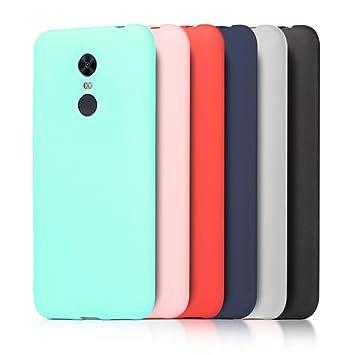 6 x Funda Xiaomi Redmi 5 Plus, Wanxideng Carcasa Suave Mate en Silicona TPU - Soft Silicone Case Cover [ Negro+ Rojo+ Azul Oscuro + Rosa + Verde Menta ...