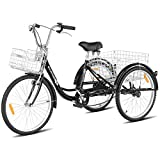 Goplus Adult Tricycle Trike Cruise Bike Three-Wheeled Bicycle with Large Size Basket for Recreation, Shopping, Exercise Men's Women's Bike (Black, 26' Wheel)