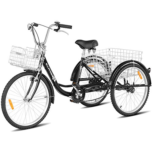 Goplus Adult Tricycle Trike Cruise Bike Three-Wheeled Bicycle with Large Size Basket for Recreation, Shopping, Exercise Men's Women's Bike (Black, 26