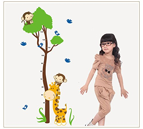 Oksale® Monkey Giraffe Height Scale Measure Wall Sticker, 59 x 29 Inch, Kids Home Decor Living Room Bedroom PVC Removable Applique Papers Mural Decoration Decal