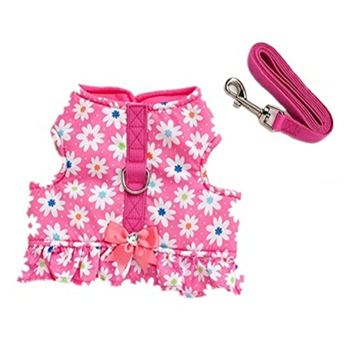 Stock Show Pet Dog Vest Harness and Leash Set with Cute Bowtie Small Dog Outdoor Walking Jackets Breathable Fashion Jeans Cloth For Small Puppy Dogs Teddy Poddle, Pink Flower with Bowknot