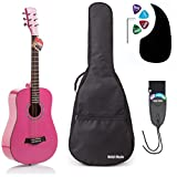 Acoustic Guitar Bundle Junior / Travel Series by Hola! Music with D'Addario EXP16 Steel Strings, Padded Gig Bag, Guitar Strap and Picks, 3/4 Size 36 Inch (Model HG-36PK), Glossy Pink