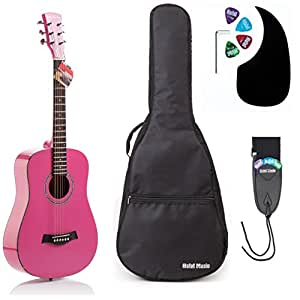 Acoustic Guitar Bundle Junior (Travel) Series by Hola! Music with D'Addario EXP16 Steel Strings, Padded Gig Bag, Guitar Strap and Picks, 3/4 Size 36 Inch (Model HG-36PK), Glossy Pink
