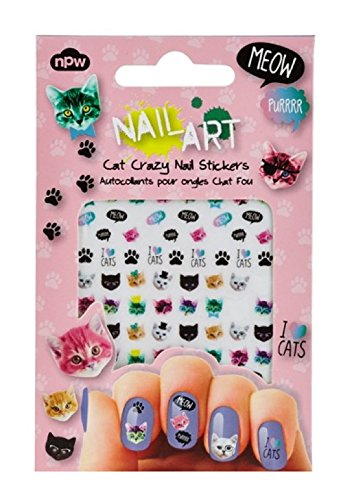 NPW NP9293 Nail Art Stickers, Various Sizes, Cat Crazy -