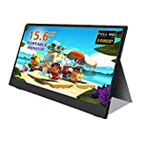 15.6'' inch Portable Monitor FHD 1080P IPS Screen Gaming Monitor with PD, Mini HDMI, Type-C Interface, Back Cover, Built-in Speakers for Raspberry Pi PS4 Xbox Ninetendo PC Laptop Industrial Security ...