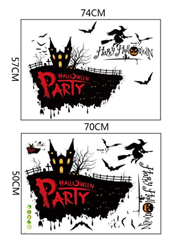 Drfoytg 2018 Hot,DIY Wall Stickers Halloween Castle Sticker Pumpkin Head Wallpaper Bat Removable Window Home Decor (Multicolor)