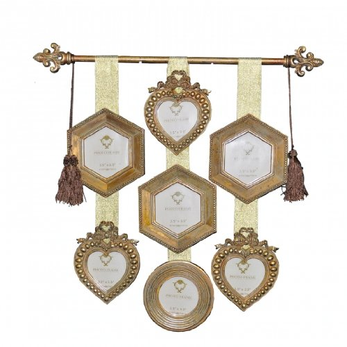 Vintage Look Shabby Chic Antique Gold Wall Hanging Multi Photo Frame ...