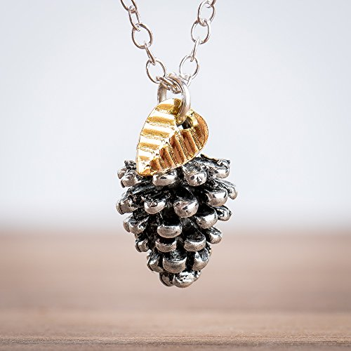 Tiny Pinecone Necklace With Leaf in Sterling Silver, Gold Plate, and Silver Plated Brass
