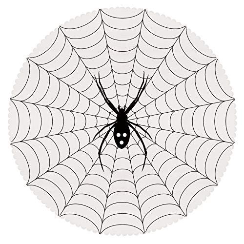 iPrint Funky Round Tablecloth [ Spider Web,Poisonous Bug Venom Thread Circular Cobweb Arachnid Cartoon Halloween Icon Decorative,Black White ] Decorative Ideas -
