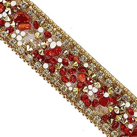 Gold Bridal Crystal Applique Chain Rhinestone Sew on Motif Wedding Dress Trim
