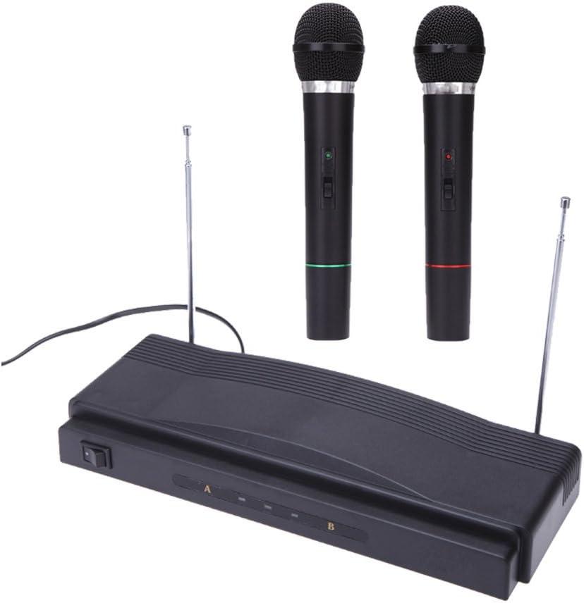 Andoer® Estudio Inalámbrico Mic Sistema de Micrófono Remoto Kit FM Transmisor Receptor con Cable de Audio para KTV Enseñanza Mostrar