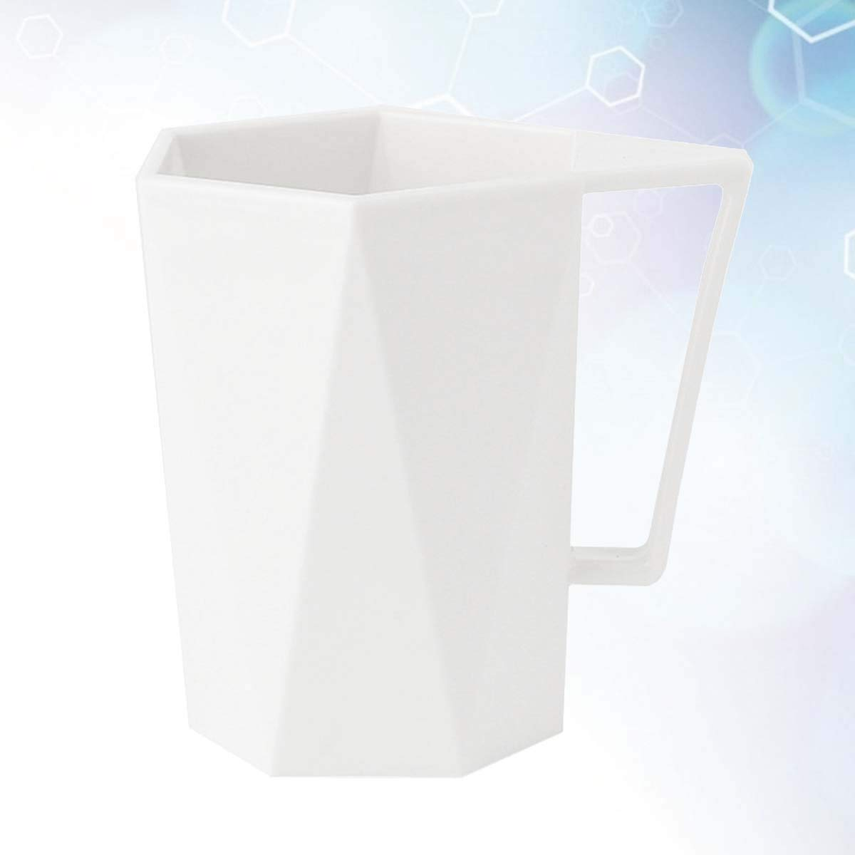 Blanc UPKOCH Tasse de Brosse /à Dents en Plastique avec poign/ée Tasse de Bain de Bouche g/éom/étrique pour Tasse de Bain Tasses de Boisson incassables pour jus de Lait de leau