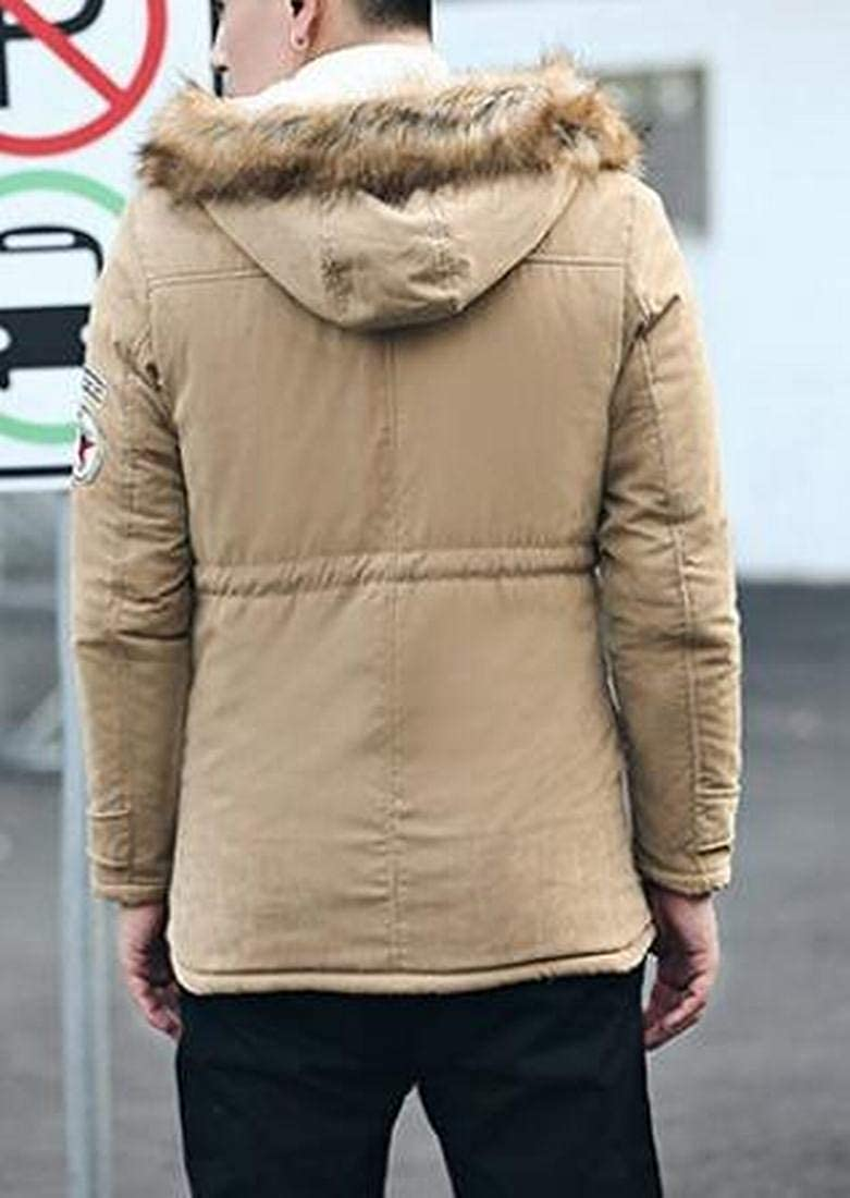 YYG Mens Faux Fur Hoodie Plus Size Lamb Wool Lined Thermal Quilted Jacket Parka Coat Outerwear
