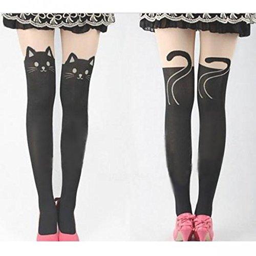 Women Cat Tail Gipsy Mock Knee High Hosiery Pantyhose