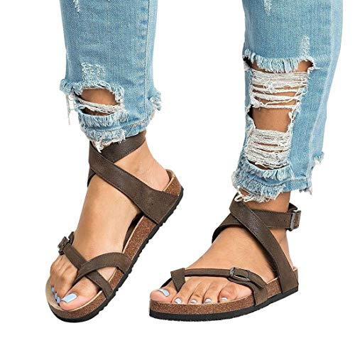 Chenghe Women's Fashion Flat Ankle Buckle Sandals Gladiator Thong Flip Flop Mayari Sandals Brown US 6
