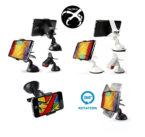 Talon II Universal Car Golf Cart Boat Camper Windshield Dashboard Mount Holder 2 for 1 Retail 2 Pack for iPhone 6 (4.7)/ Plus (5.5)/ 5s/ 5c/, Samsung Galaxy S6/S6 Edge/ S5/S4/ S3/ Note 4/3, Google Nexus 5/4, LG G3, Android, iPad Golf GPS Cigar Holder (Black)