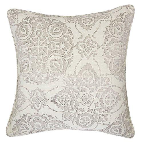 Home Accent Pillows Homey Cozy Jacquard Cotton Throw Pillow Cover,Cream Gray Unique Floral Retro Silk Woven Textured Sofa Couch Decorative Pillow Case 20x20,Cover Only -