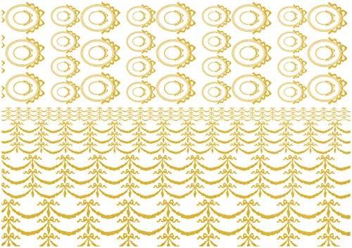 ラブフルール ポーセラーツ 転写紙 ロングリボンフレーム&リボンガーランド転写紙 メタリックゴールド/LRFRMRGD-MGD/