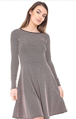 Party Plus Polka Women's Size Skater Beige Monochrome Ladies Contrast dot Mini Dress 14 Cxz50wx