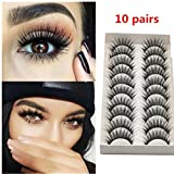 Oksale® 10 Pairs Thick Long Cross Party False Eyelashes Black Band Fake Eye Lashes (Black)