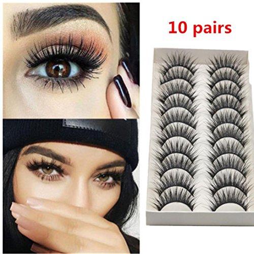 Oksale® 10 Pairs Thick Long Cross Party False Eyelashes Black Band Fake Eye Lashes (Black)