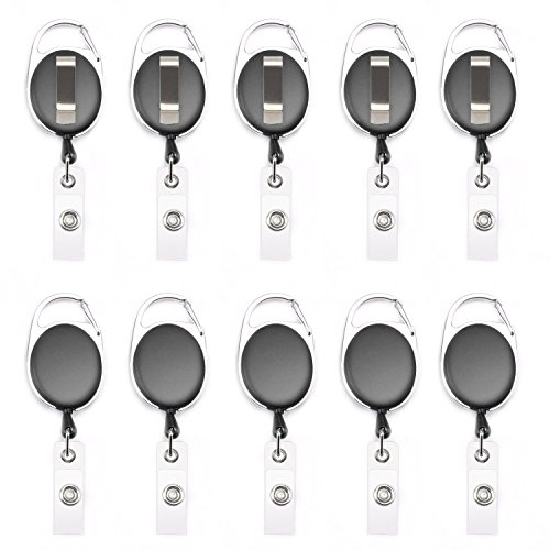 (Fushing 10Pcs Retractable Badge Holder Carabiner Reel Clip On ID Card Holders (Black))