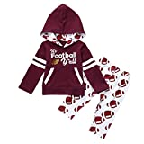 Fineser TM Baby Girls Letter Print Hoodie Sweatshirt With Pocket Tops+Pants Football Outfit Clothes Set (Wine, 18M)