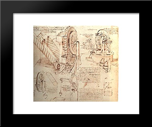 fting Devices 20x24 Framed Art Print by Leonardo da Vinci (Da Vinci Drawings)