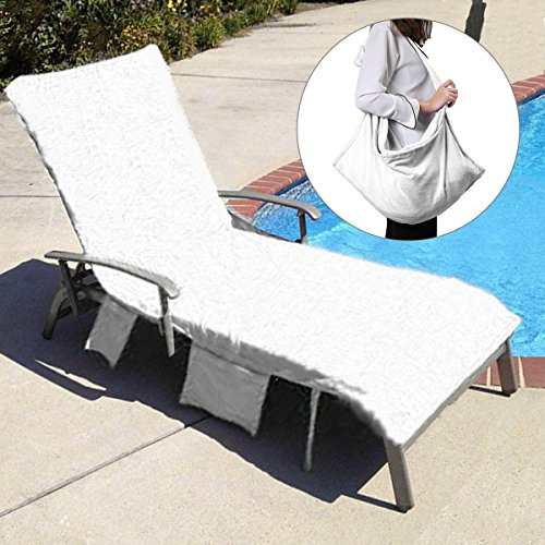KING DO WAY Lounge Chair Beach Towel Cover Microfiber Pool Lounge Chair Cover with Pockets Holidays Sunbathing Quick Drying Terry Towels 82.5''x27.5'' - White Patio Lounge Chair