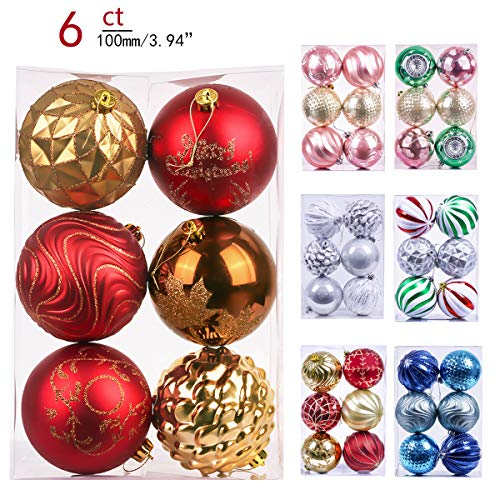 Valery Madelyn 6ct 100mm Woodland Red Brown Shatterproof Christmas Ball Ornaments Decoration,Themed with Tree Skirt(Not Included)
