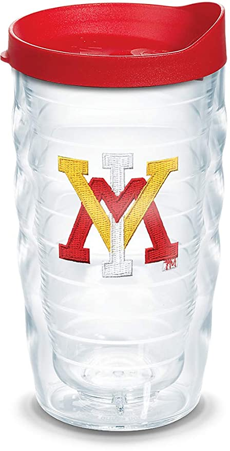 Tervis 1308924 VMI Keydets Primary Logo Insulated Tumbler with Emblem and Red Lid Clear 10oz Wavy