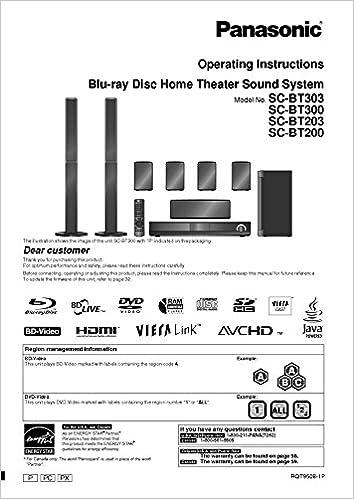Panasonic SA-BT200 SA-BT203 SA-BT300 SA-BT303 Home Theater