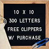 LETTER BOARD 10x10 Black Felt | Oak Frame | Free letter clippers and Free Carrying Bag | 300 White Characters | Wall Mounting Hook