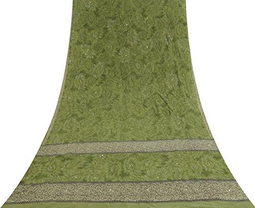 Vintage Indian Floral Printed Crepe Silk Saree Ethnic Fabric Green Sari Craft (Crepe Silk Saree)