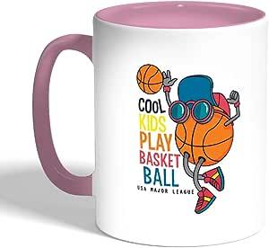 Printed Coffee Mug, Pink Color, basketball