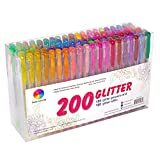 200 Pack Glitter Gel Pens Set, Smart Color Art 100 Colors Gel Pen with 100 Refills for Adult Coloring Books Drawing Painting Writing