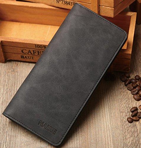 Men's Bifold Leather Breast Pocket Card Holder Purse Suit Long Wallet Checkbook,KL307-black (Wallet Breast)