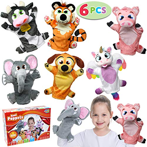 Puppet Girl Professional (Toy Animal Friends Deluxe Hand Puppets 6 Pack for Imaginative Play, Stocking, Birthday Party Favor Supplies, Girls, Boys, Kids and Toddler)