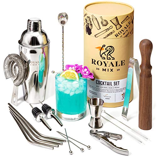 Bar Set Cocktail Shaker Set for the Home Drink Mixing Enthusiast or Professional - 19 Piece Bar Tools Bartender Tool Kit | Mixology Bartender Kit with Complementary Straws and Martini Picks Set