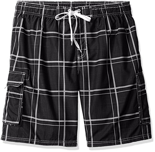Kanu Surf Men's Big Flex Extended Size Plaid Swimtrunk, Black, 2X